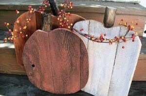 outdoor Halloween decorating -  wood pumpkins